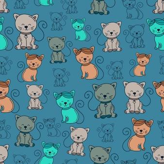 Симпатичный фон с рисунком кошки