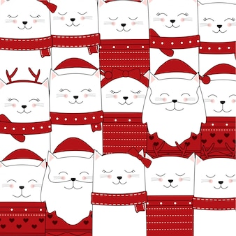 Cute cat pattern for christmas