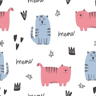 귀여운 고양이 패턴 - 손으로 그린 유치 새끼 고양이 원활한 패턴 디자인