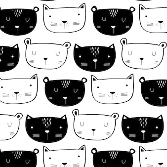 Cute cat pattern hand drawn style