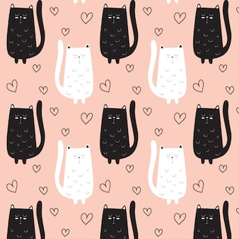 Cute cat pattern hand drawn with heart