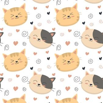 Cute cat pattern heart