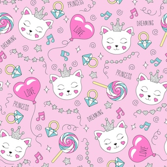 ピンクの背景にかわいい猫のパターン。カラフルなトレンディなシームレスパターン。服のモダンなスタイルで描くファッションイラスト。子供服、tシャツ、生地、パッケージの描画。