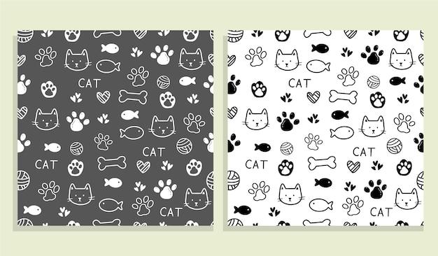 Симпатичный кот узор бесшовные модели дизайн фона иллюстрации