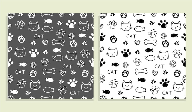Cute cat pattern seamless pattern design background illustration