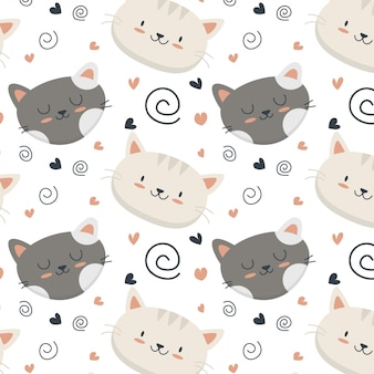Cute cat pattern with hearts