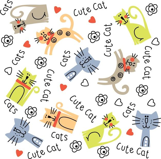 귀여운 고양이 패턴.