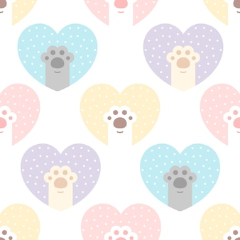Cute cat paw footprint with heart seamless pattern background