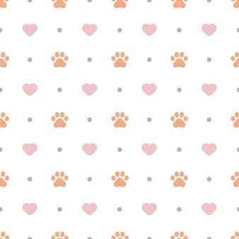 Cute cat paw seamless pattern