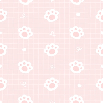 Cute cat paws footprint seamless pattern background