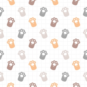 Cute cat paws footprint seamless pattern