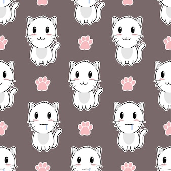 Cute cat and paws seamless pattern design