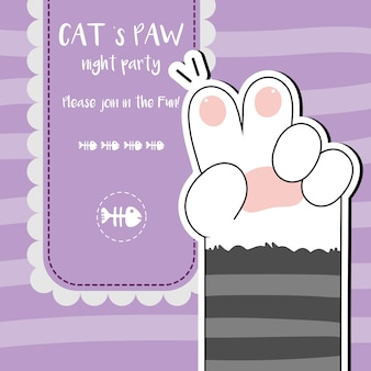 Cute cat paws wallpaper vector illustration