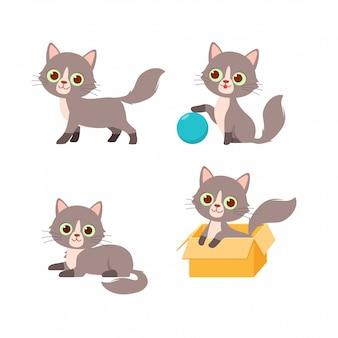 Милый котик домашнее животное играет набор в стиле позы