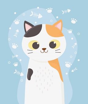 Cute cat pet with spots fishbone and paws cartoon illustration