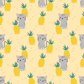 Cute cat and pineapple seamless pattern.