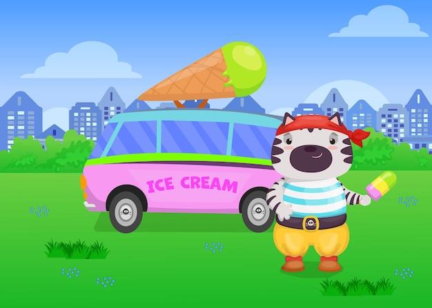 Simpatico gatto in costume da pirata che vende gelato nell'illustrazione del furgone.