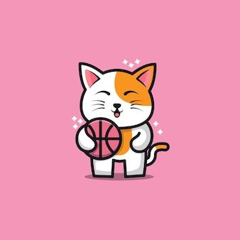 Cute cat play basketball cartoon   illustration