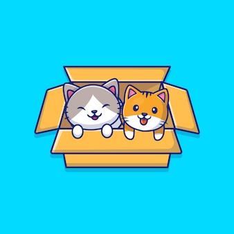 상자 만화 아이콘 그림에서 귀여운 고양이 놀이. 동물 아이콘 개념 절연입니다. 플랫 만화 스타일
