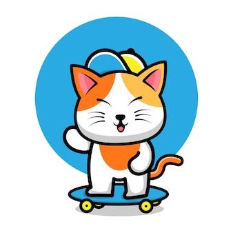 かわいい猫はスケートボードの漫画イラストを再生します