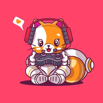 Cute cat playing game with astronaut custom