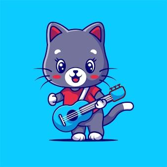 Милый кот играет на гитаре изолирован на синем