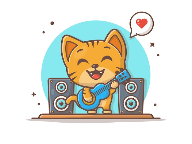 Cute cat playing guitar with speaker  icon illustration
