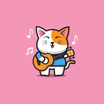 Cute cat playing guitar