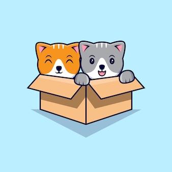 골 판지 상자에서 귀여운 고양이