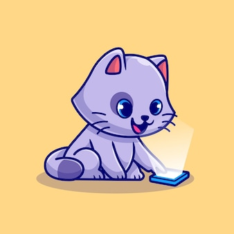 携帯電話の漫画イラストを遊んでいるかわいい猫