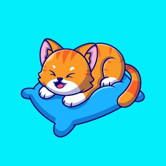 Cute cat playing on pillow cartoon icon illustration.
