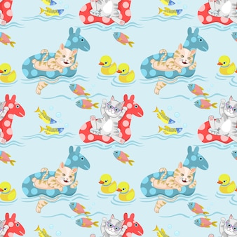 Cute cat playing in pool with life ring seamless pattern.