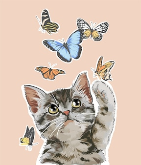 Cute cat playing with butterflies illustration