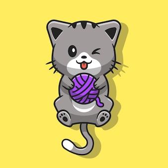 Милый кот играет мяч пряжи мультфильм вектор значок иллюстрации. концепция животного природы значок изолированные premium векторы. плоский мультяшном стиле