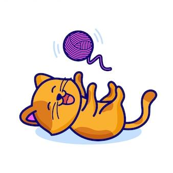 Милый кот играет мячом пряжи