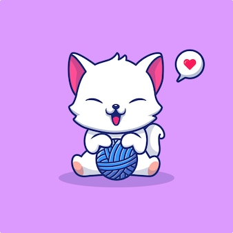 Cute cat playing yarn ball