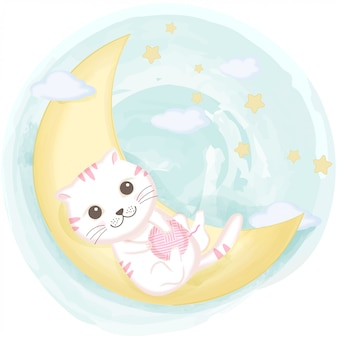 Cute cat playing yarn on the crescent moon