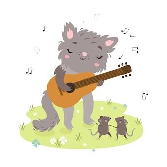 Милый кот играет на гитаре. мыши танцуют