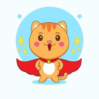 スーパーヒーローの漫画イラストを装ったかわいい猫