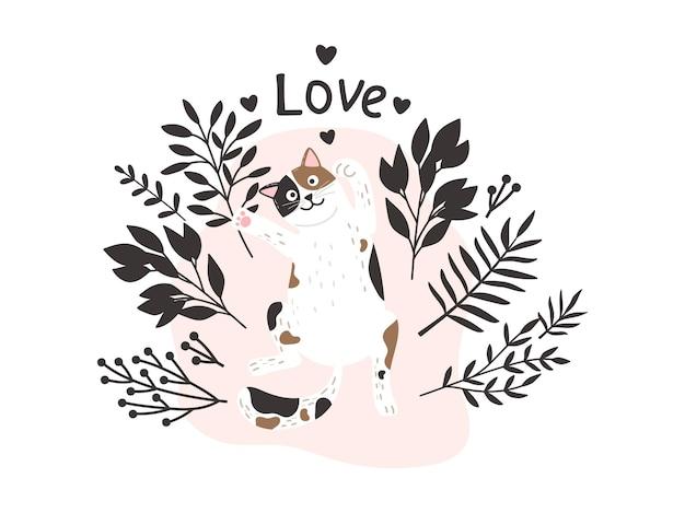 かわいい猫のプリント。背景、花の枝、子猫が大好きです。ペットカードテンプレート、孤立した漫画の動物のベクトル図
