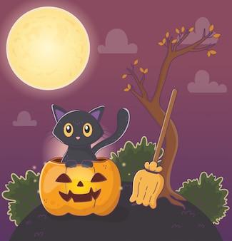 Милый кот из тыквы и метла хэллоуин