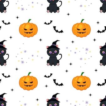 Cute cat and pumpkin halloween seamless pattern