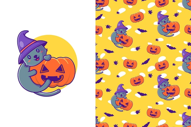 Cute cat and pumpkin happy halloween with seamless pattern