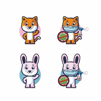 Cute cat and rabbit fight covid 19 vector mascot set bundle