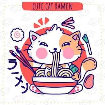 Милый кот рамен