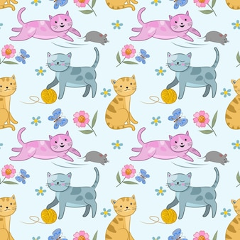 Cute cat and rat seamless pattern