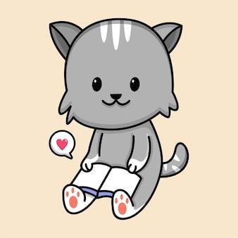 かわいい猫読書本漫画イラスト
