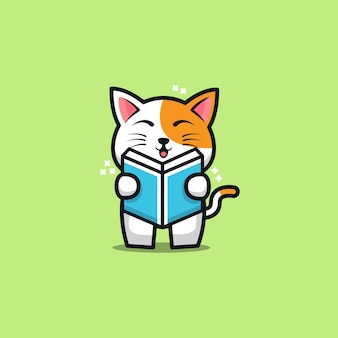 Cute cat reading book cartoon   illustration