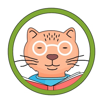 Cute cat reading a book in circle frame. smart animal in glasses