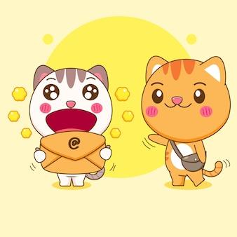 Милый кот получает иллюстрацию шаржа почты Premium векторы